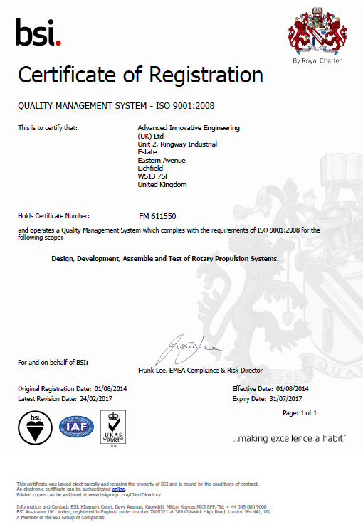 BSI quality management (ISO-90012008) certification for AIEUK