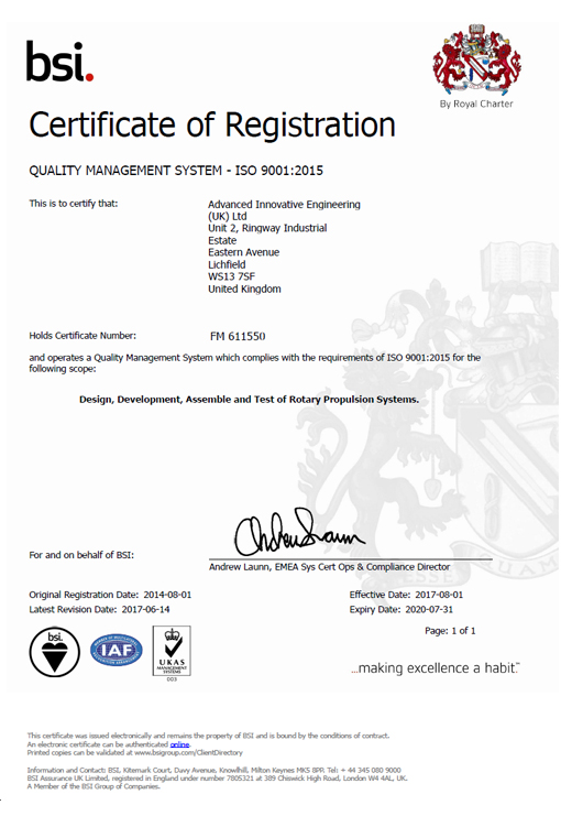 BSI quality management (ISO-ISO 90012015 ) certification for AIEUK